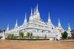 The White Pagodas at Wat Asokaram Stock Image