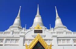 The White Pagodas at Wat Asokaram Stock Photo