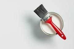 White paint and brush Royalty Free Stock Photo