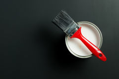 White paint and brush Royalty Free Stock Image