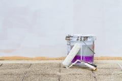 White paint bucket Stock Photos