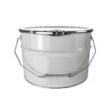 White paint bucket isolated. 3d render illustration Stock Images