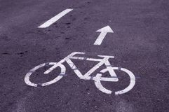 Marked bicycle road in the park. background Stock Photo