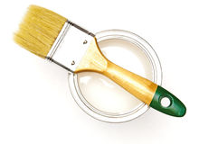 White paint and paint brush Stock Photos