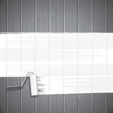 White Paint Roller on Planks Background. Vector Stock Images