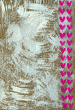 White Painted Background with Hearts. White acrylic on cardboard with hearts - background Stock Photography