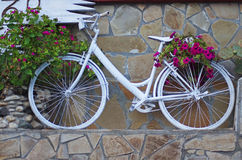 White painted and decorated bicycle Royalty Free Stock Photography