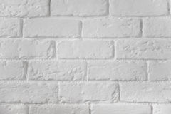 White painted brick wall texture background. For inscriptions Royalty Free Stock Photo