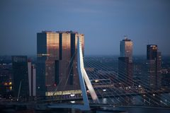 White Painted Bridge Near High Rise Building Under Blue Sky during Sunset Royalty Free Stock Photo