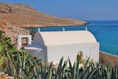 White painted chapel, Halki island Royalty Free Stock Images
