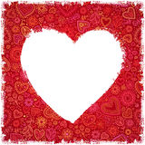White painted heart on red ornate background. Greeting card stock illustration