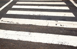 White Painted Lines On Roadway Denoting Pedestrian Crossing Stock Images