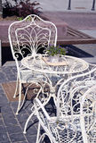 White painted metal cafe furniture Royalty Free Stock Image
