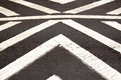 White Painted Pedestrian Crossing On Asphalt Roadway Royalty Free Stock Images