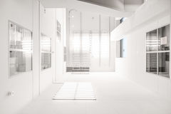White Painted Room With Glass Windows Stock Image