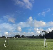 White painted soccer goalposts Royalty Free Stock Photo