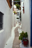 White painted street and small houses Royalty Free Stock Image