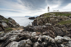White paited lighthouse, Fanad Head, Ireland Royalty Free Stock Photo