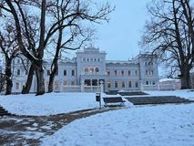 White palace in Plunge town park, Lithuania stock image