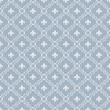 White and Pale Blue Fleur-De-Lis Pattern Textured Fabric Backgro. Und that is seamless and repeats Royalty Free Stock Images