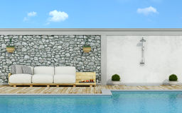 White pallet couch in pallets on the poolside Stock Photos