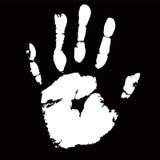 White palmprint shape on black background Stock Photos