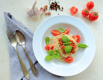 White palte with italian spaghetti pasta Stock Images