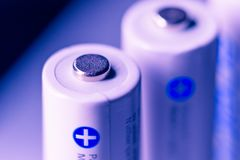 White Panasonic Double A Rechargeable Batteries. On white background Made in Japan Royalty Free Stock Photography