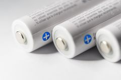 White Panasonic Double A Rechargeable Batteries. On white background Made in Japan Stock Images