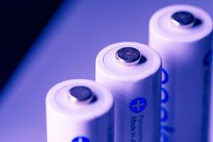 White Panasonic Double A Rechargeable Batteries. On white background Made in Japan Stock Photography