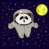 White panda astronaut in space suit. the pioneer. adventures in space. royalty free illustration
