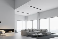 White panoramic living room, fireplace. White panoramic living room interior with a fireplace, a wooden floor and a gray sofa near a round coffee table. 3d Royalty Free Stock Images