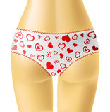 White panties with red hearts Stock Photo