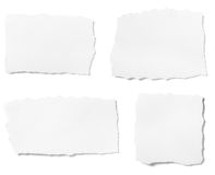 White paper. Collection of white ripped pieces of paper on white background. each one is shot separately stock images