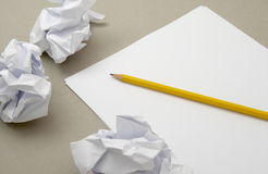 White paper 2. Close up of blank white papers and pencil Stock Photography