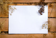 White paper. On wooden wall Royalty Free Stock Photos