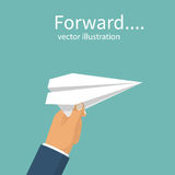 White paper airplane in businessman`s hand. White paper airplane holding in businessman`s hand. Forward to goal concept. Vector illustration flat design.  on Stock Photo