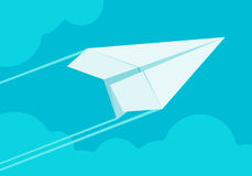 White paper airplane flying in the sky Royalty Free Stock Image