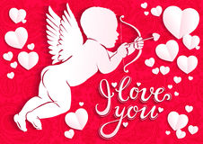 White paper angel with bow and arrow and the words  I love you Royalty Free Stock Photography