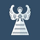 White paper angel with a christmas star on a dark blue background. Beautiful decor angel is form for carving. Christmas angel is form for cutting. Symmetrical royalty free illustration