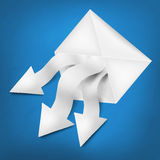 White paper arrows with envelope Royalty Free Stock Photos