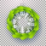 Christmas decorated green paper wreath. White Paper art landscape, house, rabbit in green circle made from fir tree branches. Christmas and happy new year paper Royalty Free Stock Images