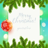 White paper background with fir tree branches and. White vector paper background with fir tree branches and red Christmas ball Royalty Free Stock Image