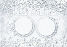 White paper background with snowflakes and frames Stock Photos
