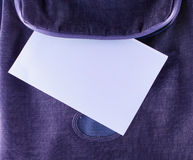White paper in backpack Royalty Free Stock Image