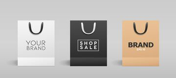 White Paper Bag, Balck Paper Bag, Brown Paper Bag, With Black And White Cloth Handle Collections Design Royalty Free Stock Image