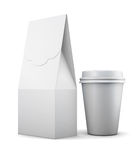 White paper bag and Cup for lunch on white background. 3d render. Ing Royalty Free Stock Photo