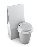 White paper bag and Cup on a white background.  3d rendering.  Stock Photography