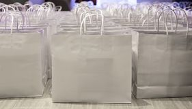 Paper shopping back ready for sale. White paper bag ready for shopper on sale festival Stock Photo