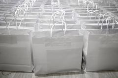 Paper shopping back ready for sale. White paper bag ready for shopper on sale festival Royalty Free Stock Images